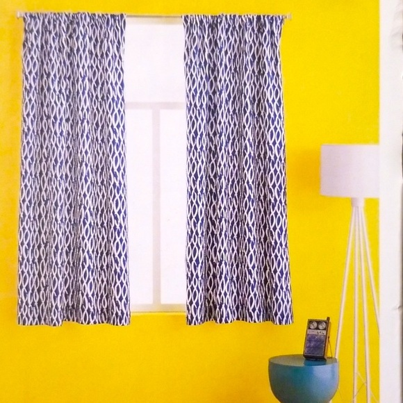 Like-New Navy & White Wave-Print Curtains - 2 Sets